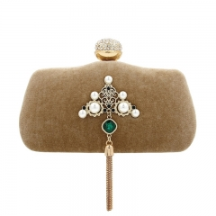 EV145 Women crystal fashion pearl evening clutch purse suede bridal party bag