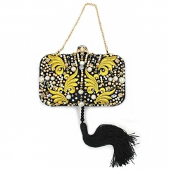 EV143 New trend Tassel with gold embroidery fabric handmade beads clutch evening bag for women