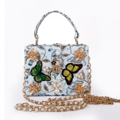 EV149-1 Fashion design elegant pearl clutch bag flower embroidery small shoulder crossbody bags for women