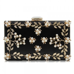 EV149 2019 High Quality Diamond Beaded Pearls Women Evening bag Clutch