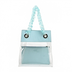PU2178 Newest women summer fashion Clear PVC beach tote bag Ultra transparent TPU ladies handbag with resin handles