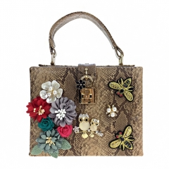 EV152 Fashionable Snake print PU leather evening clutch bag square box flower bee embroidery hand purse