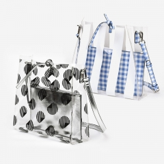 PU2179 2019 New Design Large PVC Wave Point Stripe Clear Transparent Women Set Shopping bag With Clutch