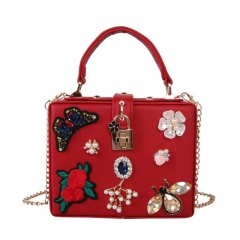 EV154 Crystal decorate square vintage embroidery flower evening ladies clutch bag purses small fashion party bags