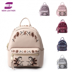 PU2185 2019 New Arrival Genuine leather Embroidery Small Mini School Girl leisure backpack ladies