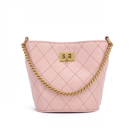 PU2216 Wholesale Customize Women Fashion Quilted Bucket bag With Golden Chain