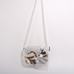 PU2231 2019 New summer transparent design phone bag girls crossbody sling bags with silk scarves