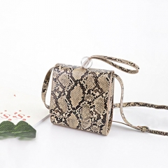 PU2249 Fashion Snake Skin Pattern Round pearl decoration Small Square Shoulder bag for Women