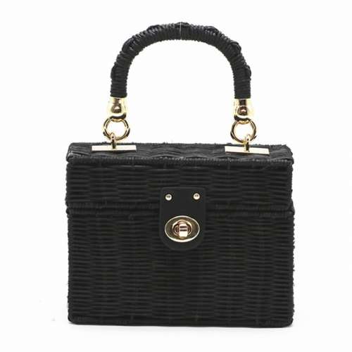 BC0221 New design fashion women black square rattan bag with golden long chain handmade straw crossbody bag