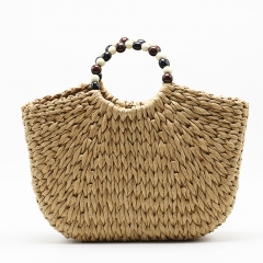 BC0226 Fashion Recycled Bead Handle Summer Beach Straw Hand Bags