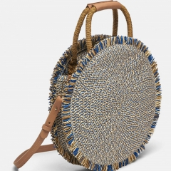 BC0227 New Bohemian fringed handbag style raffia beach bags round shape handmade straw cross-body bag for women