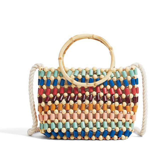 BC0230 Factory Wholesale Bamboo Handle Hand knitting Colorful Bead Beach hand bag for Women