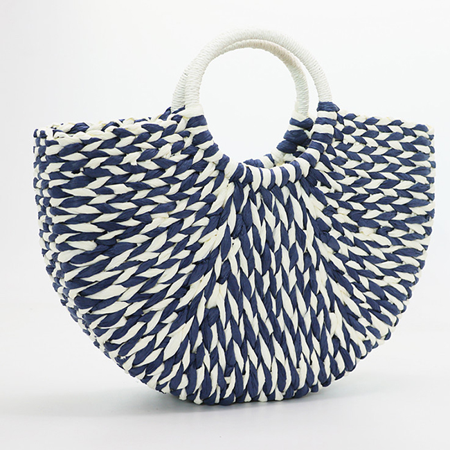 BC0229 New half moon contrast color design straw bag hand-woven beach handbag for women