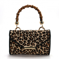 PU2316 Winter fashion lady designer hand bag high quality PU leather leopard women handbag with wooden handle
