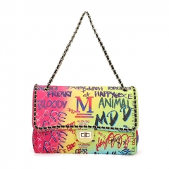 PU2343 New fashion designer graffiti handbag rainbow color ladies chain shoulder messenger bag