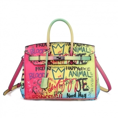 PU2342 Luxury designer brand lady handbag high quality printed graffiti big size tote shoulder bag for women