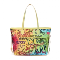 PU2344 2020 New fashion designer PU rainbow graffiti women tote shoulder bag lady handbag for wholesale