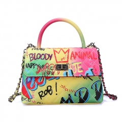 PU2345 High grade designer pu leather graffiti bags women handbags ladies colorful shoulder bag purse