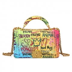 PU2346 Famous Brand Graffiti Design Women Handbag Colorful Printed Purses Ladies Shoulder bag