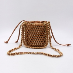 EV175 Designer fashion new style hand-woven chain bucket women's pu shoulder small crossbody bag