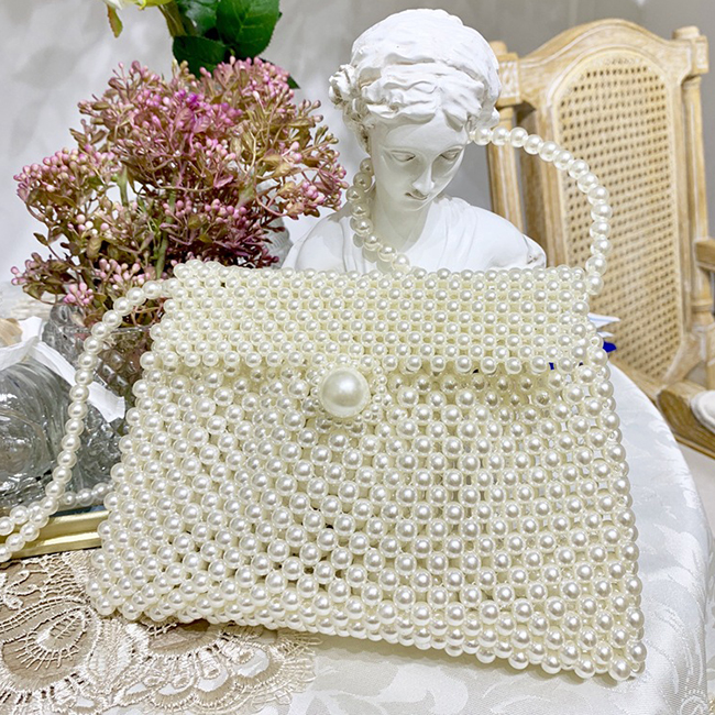 EV176 Factory handmade knitted style women's crystal evening shoulder bag beaded party pearl jewelry sling bag