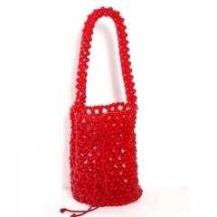 EV179 2020 Summer Hand-woven New Cylinder Bucket Bag Red Color Shoulder Bags Beach Beaded Handbag For Women