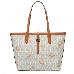 LT2040 New Monogram Design Genuine Leather Ladies Handbag Large Capacity Tote Shoulder Bag