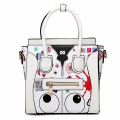 PU2355 Graffiti tote shoulder bag fashion smile printed pu women handbag designer crossbody bag