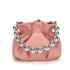 PU2384 2020 New trendy creative pearl handbag lady fashion wrinkle soild color shoulder crossbody bag with chain
