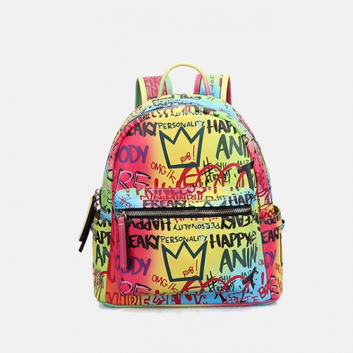 PU2395 Guangzhou wholesale ladies PU portable travel bag 2020 fashion printing graffiti large capacity backpack for women