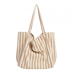 PU2431 Eco shopping stripe canvas bag large capacity reusable cotton canvas beach tote bag for ladies shoulder bag