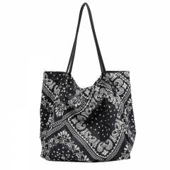 PU2434 Guangzhou wholesale printed black white canvas cotton tote bag large capacity shoulder bag for women