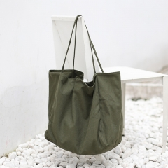 PU2433 Ins fashion simple deisgn casual retro large shoulder bag reusable cotton canvas ladies handbag