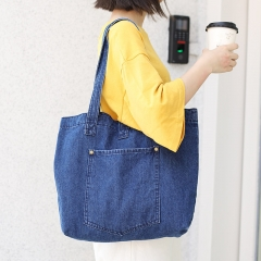 PU2438 Casual Style Denim Handbag Soft Jeans Shopping Bag Large Capacity Tote Bag with Cell Phone Pouch