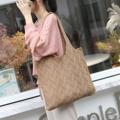 PU2442 Japanese and Korean new arrival casual fashion woolen handbag cotton woven large capacity tote shoulder bag