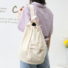 PU2451 Korean college style bucket bag drawstring shoulder bags high quality nylon crossbody bag