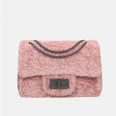 PU2461 New Arrival Christmas Style Lamb Wool Sling Bags Soft Fur Women Crossbody Shoulder Bag
