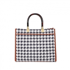 PU2464 Classic Houndstooth Designer Handbags High Quality Canvas Tote Shoulder Bag For Women