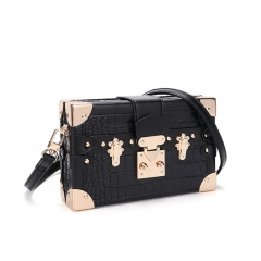 PU2465 New Contrast Color Alligator Pattern Box Shape Women Shoulder Bag Fashion Rivet Decoration Messenger Bag