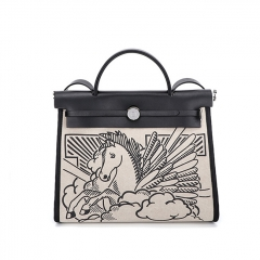 PU2467 New arrival brand design high quality canvas women handbag leather tote shoulder bag with horse printing