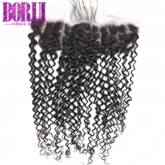 Borui Kinky Curly 13*4 Lace Frontal Remy Virgin Hair Natural color Ear to Ear