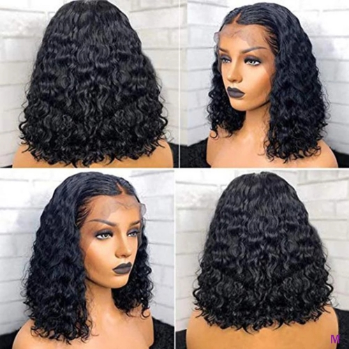 13X4 Curly Bob Wigs Lace Frontal Water Wave Wig For Women Indian Curly Human Hair Wigs with Pre Plucked