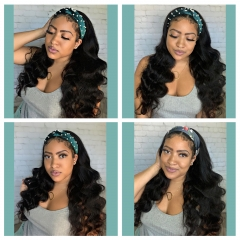 New Wig With Headband loose Wave Human Hair Wigs No Gel No Glue Silk Scarf Headband Wigs