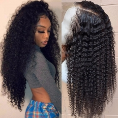 4x4 Curly Brazilian Hair Wig Brazilian Kinky Curly Lace Closure Wig Pre Plucked With Baby Hair Remy Natural Color