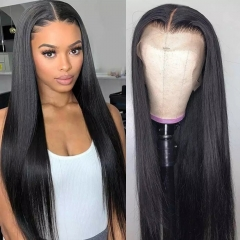 4x4 Lace Closure Wig Silk Straight Natrural Headline with Baby hair180% Density Brazilian Hair