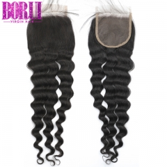 Borui Hair Brazilian Loose Deep Wave Transparent Lace Closure Natural Color Remy Human Hair 4x4 Inch Swiss Lace Closure