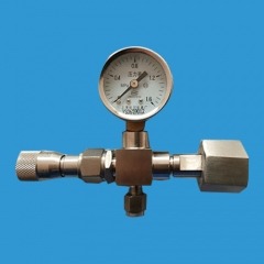 Stainless steel needle sampling valve with flow meter