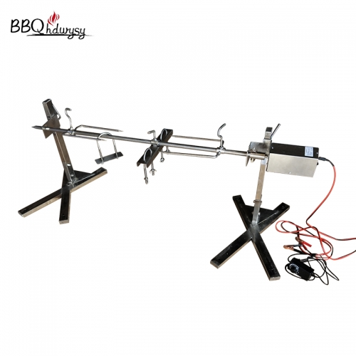 Stainless steel electric lamb hog bbq grill tripod rotisserie spit Charcoal Grills