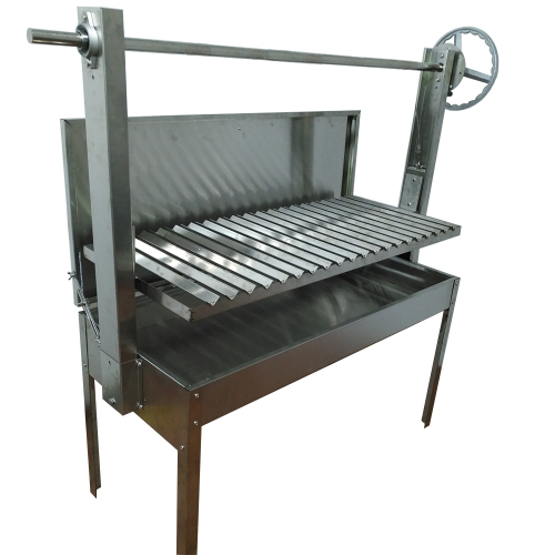 Argentine Wood fired BBQ Parrilla Asado Grill with V-grate grill rotisserie