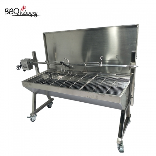 190Lb Charcoal Electric BBQ Pig Lamb Goat Chicken Roaster Stainless Steel Rotisserie spit